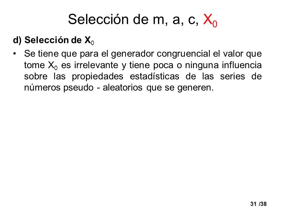 31/38 d) Selección de X 0 Se tiene que para el generador congruencial el valor que tome X 0 es irrelevante y tiene poca o ninguna influencia sobre las