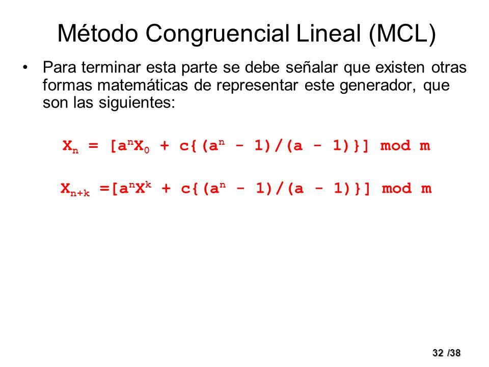 32/38 Método Congruencial Lineal (MCL) Para terminar esta parte se debe señalar que existen otras formas matemáticas de representar este generador, qu