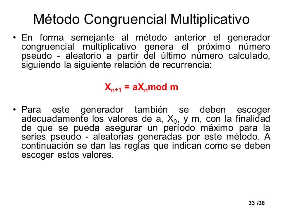 33/38 Método Congruencial Multiplicativo En forma semejante al método anterior el generador congruencial multiplicativo genera el próximo número pseud