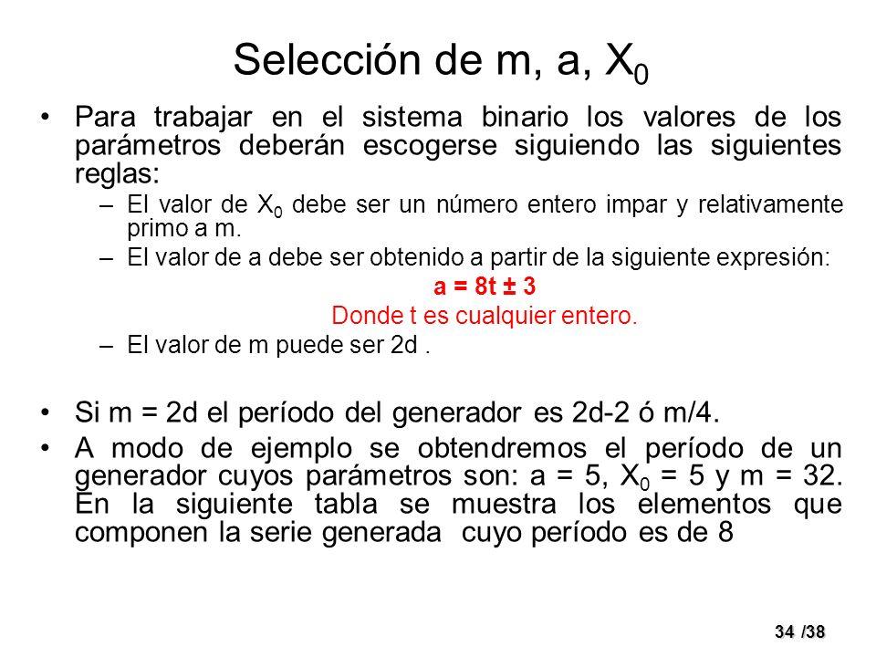 34/38 Selección de m, a, X 0 Para trabajar en el sistema binario los valores de los parámetros deberán escogerse siguiendo las siguientes reglas: –El