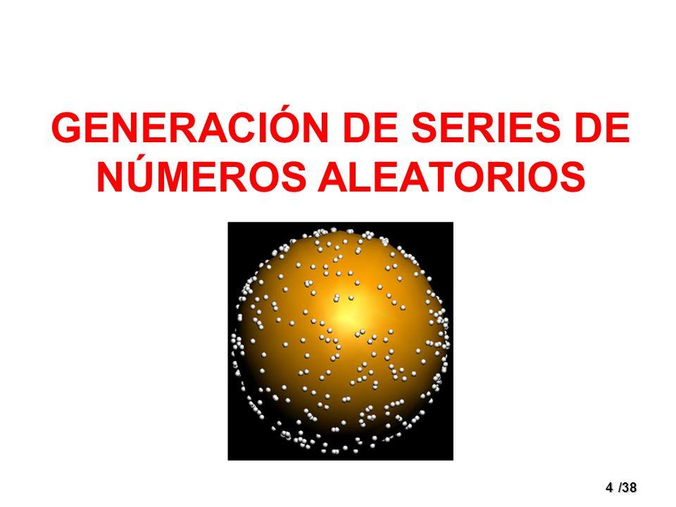 5/38 Generación de Números Aleatorios Rol preponderante en el proceso de simulación.