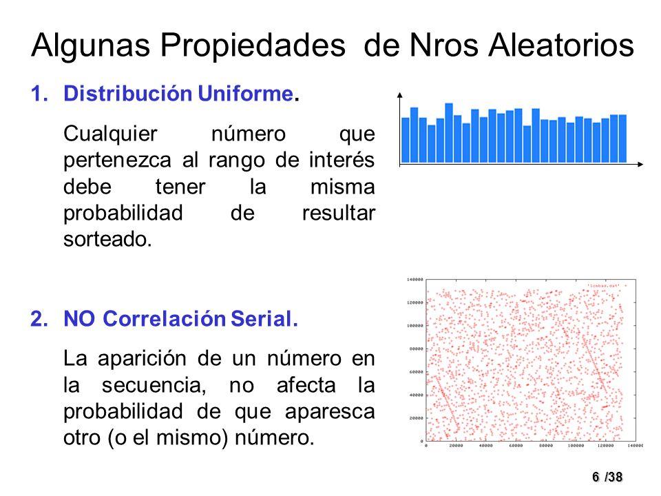 6/38 Algunas Propiedades de Nros Aleatorios 1.Distribución Uniforme. Cualquier número que pertenezca al rango de interés debe tener la misma probabili