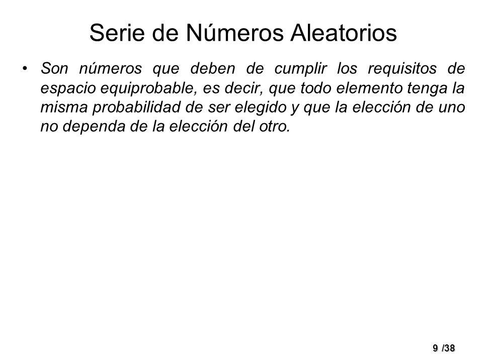 9/38 Serie de Números Aleatorios Son números que deben de cumplir los requisitos de espacio equiprobable, es decir, que todo elemento tenga la misma p