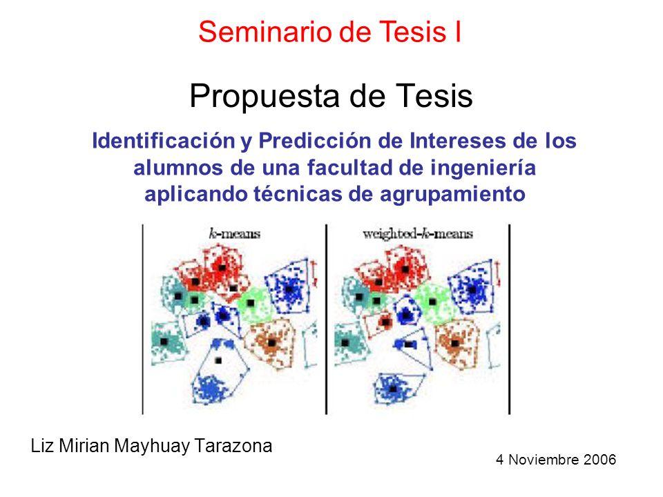 Propuesta de Tesis Liz Mirian Mayhuay Tarazona Seminario de Tesis I Identificación y Predicción de Intereses de los alumnos de una facultad de ingenie