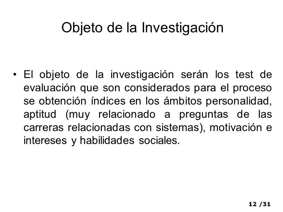 12/31 Objeto de la Investigación El objeto de la investigación serán los test de evaluación que son considerados para el proceso se obtención índices
