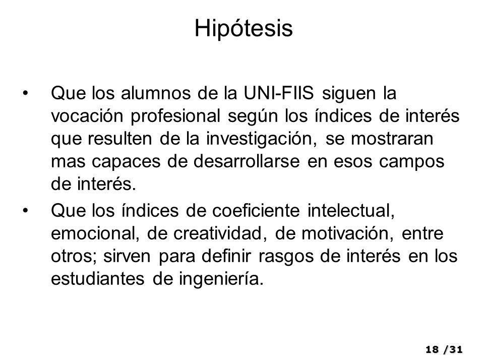 18/31 Hipótesis Que los alumnos de la UNI-FIIS siguen la vocación profesional según los índices de interés que resulten de la investigación, se mostra