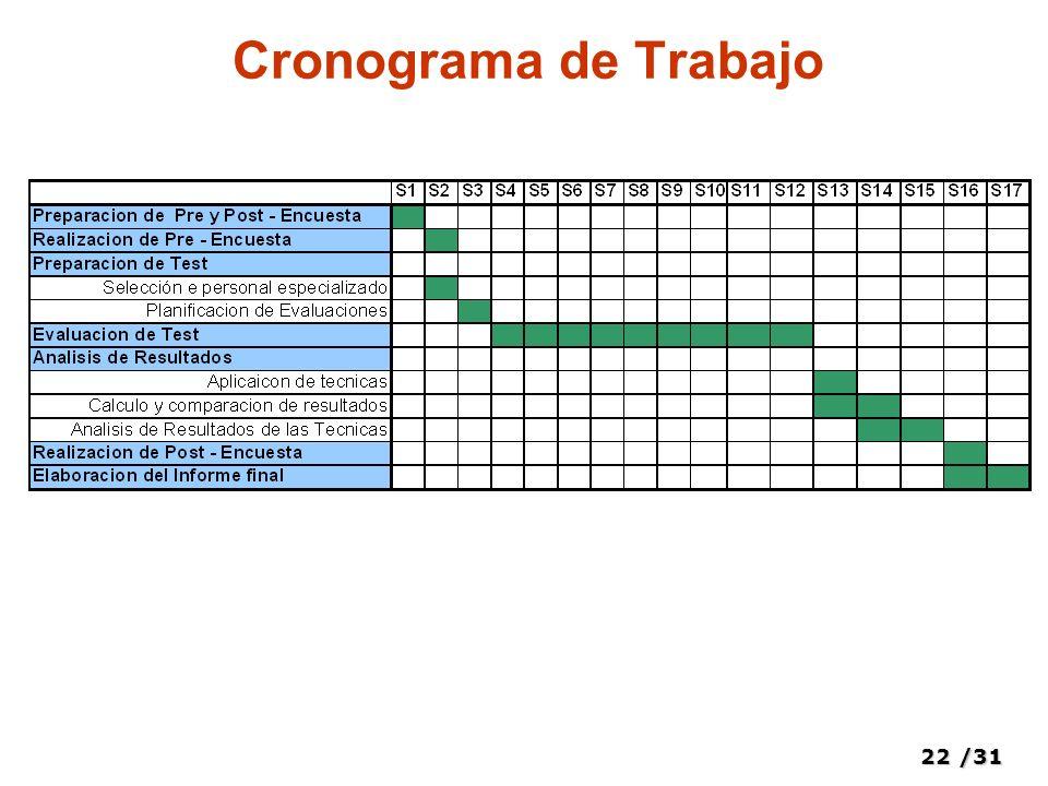 22/31 Cronograma de Trabajo