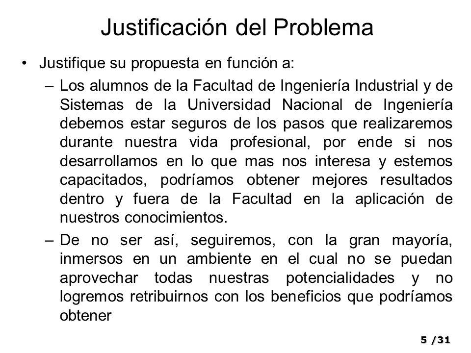 5/31 Justificación del Problema Justifique su propuesta en función a: –Los alumnos de la Facultad de Ingeniería Industrial y de Sistemas de la Univers