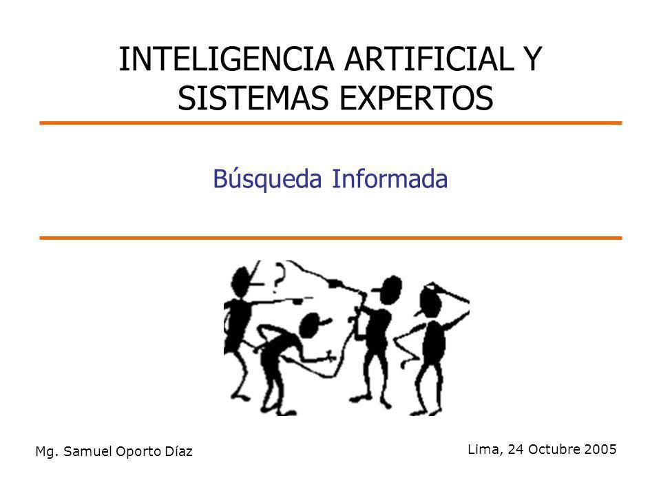 Mg. Samuel Oporto Díaz Lima, 24 Octubre 2005 Búsqueda Informada INTELIGENCIA ARTIFICIAL Y SISTEMAS EXPERTOS