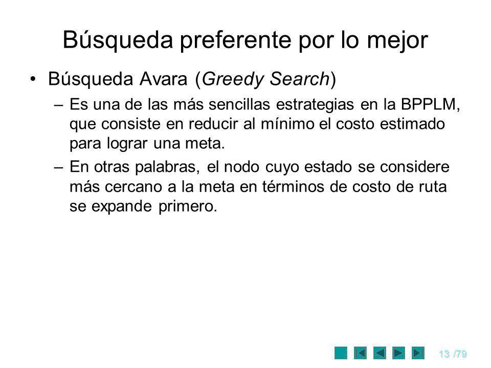 13/79 Búsqueda preferente por lo mejor Búsqueda Avara (Greedy Search) –Es una de las más sencillas estrategias en la BPPLM, que consiste en reducir al