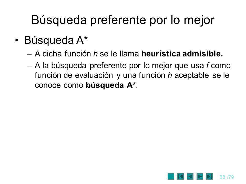 33/79 Búsqueda preferente por lo mejor Búsqueda A* –A dicha función h se le llama heurística admisible. –A la búsqueda preferente por lo mejor que usa
