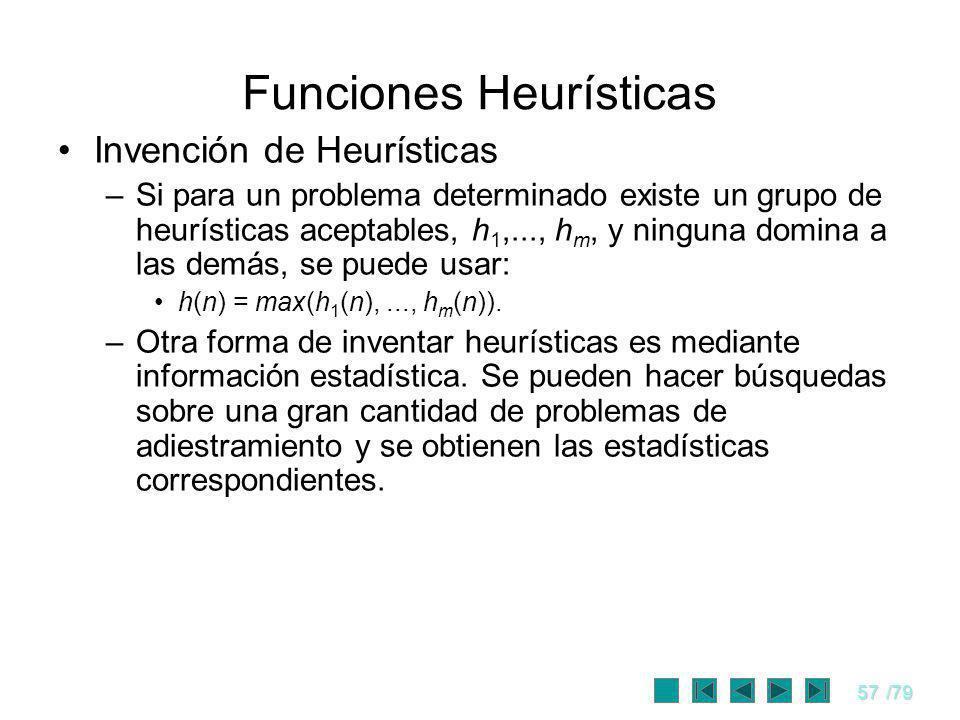 57/79 Funciones Heurísticas Invención de Heurísticas –Si para un problema determinado existe un grupo de heurísticas aceptables, h 1,..., h m, y ningu