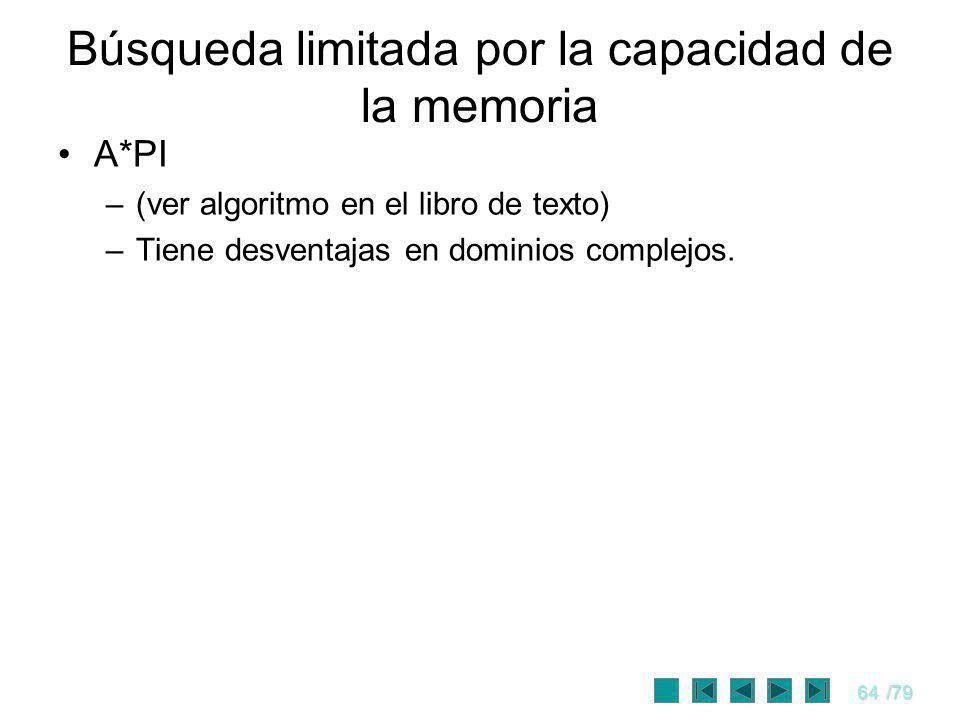 64/79 A*PI –(ver algoritmo en el libro de texto) –Tiene desventajas en dominios complejos. Búsqueda limitada por la capacidad de la memoria