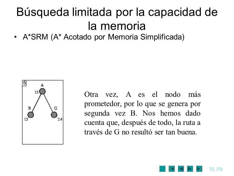 75/79 A*SRM (A* Acotado por Memoria Simplificada) Búsqueda limitada por la capacidad de la memoria Otra vez, A es el nodo más prometedor, por lo que s