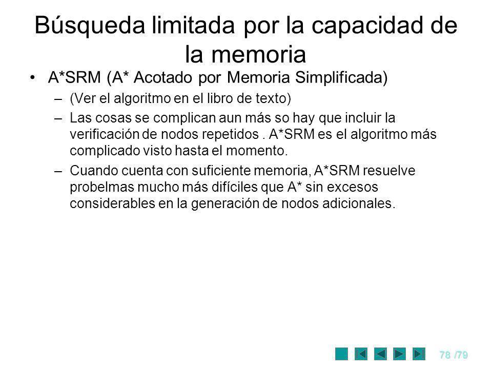 78/79 A*SRM (A* Acotado por Memoria Simplificada) –(Ver el algoritmo en el libro de texto) –Las cosas se complican aun más so hay que incluir la verif