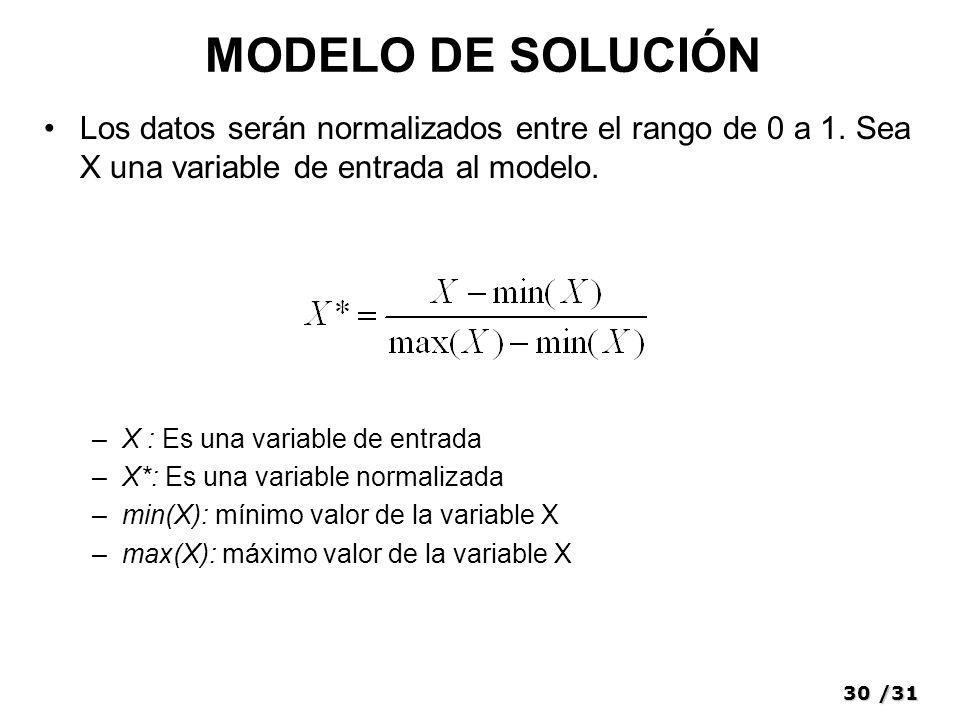 30/31 MODELO DE SOLUCIÓN Los datos serán normalizados entre el rango de 0 a 1.