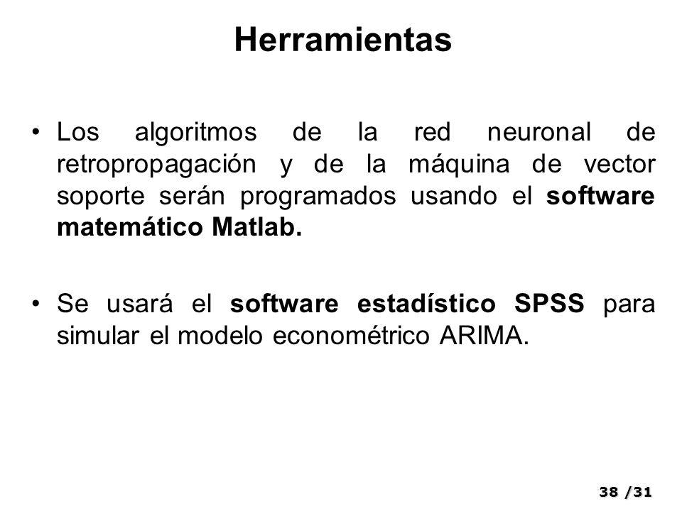 38/31 Herramientas Los algoritmos de la red neuronal de retropropagación y de la máquina de vector soporte serán programados usando el software matemático Matlab.