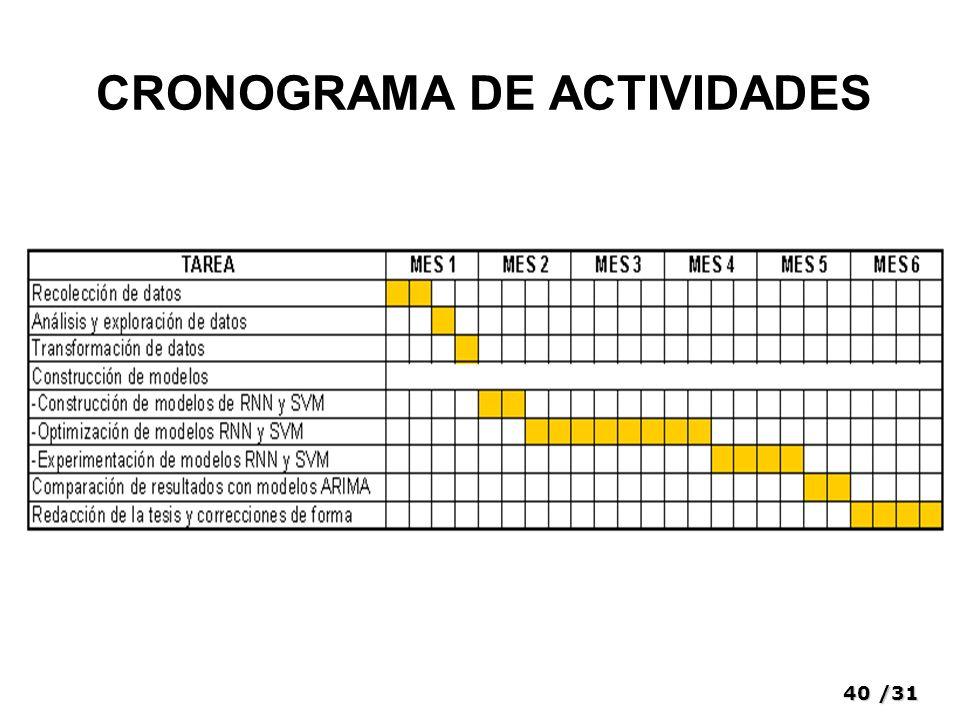 40/31 CRONOGRAMA DE ACTIVIDADES