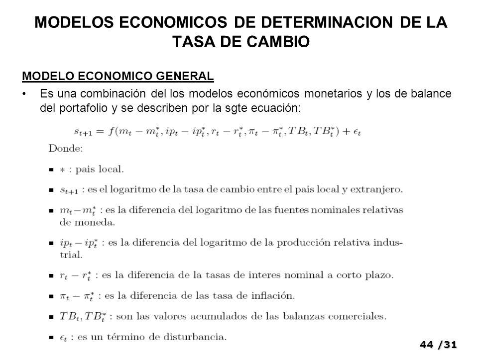 44/31 MODELOS ECONOMICOS DE DETERMINACION DE LA TASA DE CAMBIO MODELO ECONOMICO GENERAL Es una combinación del los modelos económicos monetarios y los de balance del portafolio y se describen por la sgte ecuación: