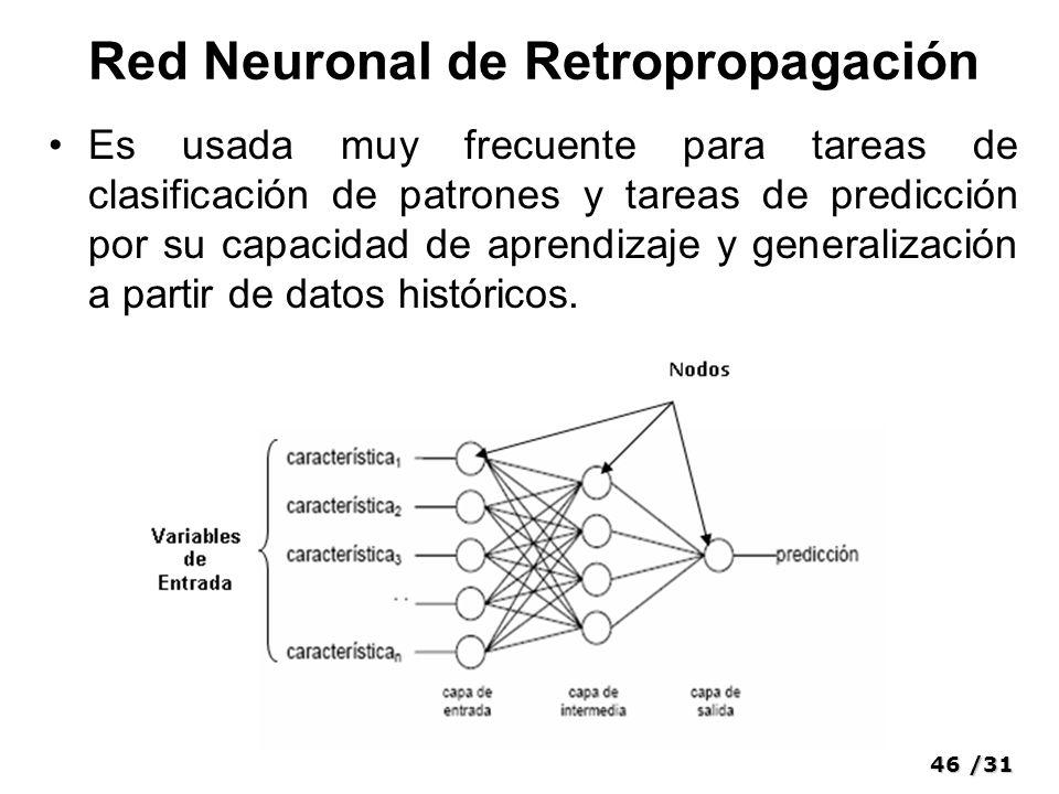 46/31 Red Neuronal de Retropropagación Es usada muy frecuente para tareas de clasificación de patrones y tareas de predicción por su capacidad de aprendizaje y generalización a partir de datos históricos.