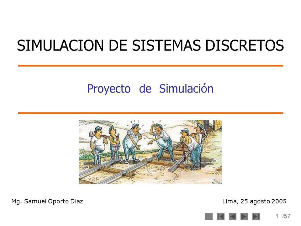 1/57 Proyecto de Simulación Lima, 25 agosto 2005 SIMULACION DE SISTEMAS DISCRETOS Mg. Samuel Oporto Díaz