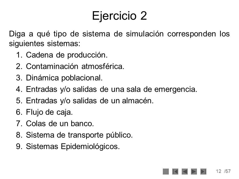 12/57 Ejercicio 2 Diga a qué tipo de sistema de simulación corresponden los siguientes sistemas: 1.Cadena de producción. 2.Contaminación atmosférica.