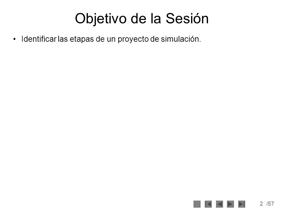 2/57 Objetivo de la Sesión Identificar las etapas de un proyecto de simulación.