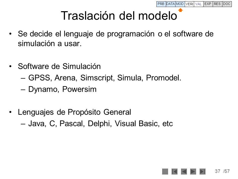37/57 Traslación del modelo Se decide el lenguaje de programación o el software de simulación a usar. Software de Simulación –GPSS, Arena, Simscript,