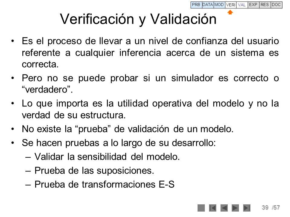 39/57 Verificación y Validación Es el proceso de llevar a un nivel de confianza del usuario referente a cualquier inferencia acerca de un sistema es c
