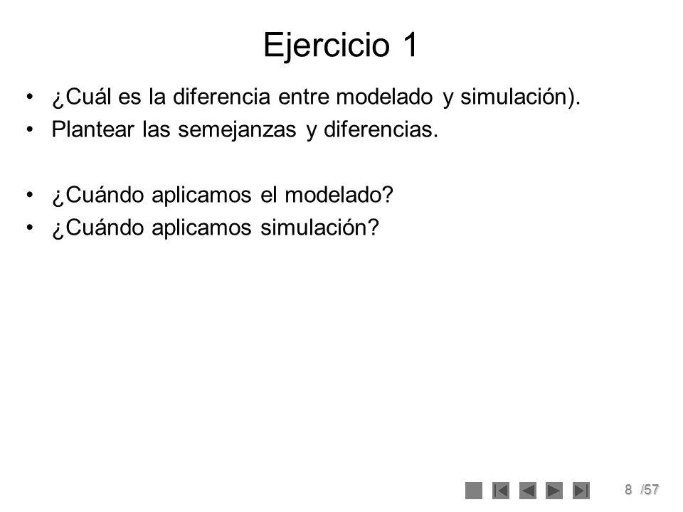 8/57 Ejercicio 1 ¿Cuál es la diferencia entre modelado y simulación). Plantear las semejanzas y diferencias. ¿Cuándo aplicamos el modelado? ¿Cuándo ap