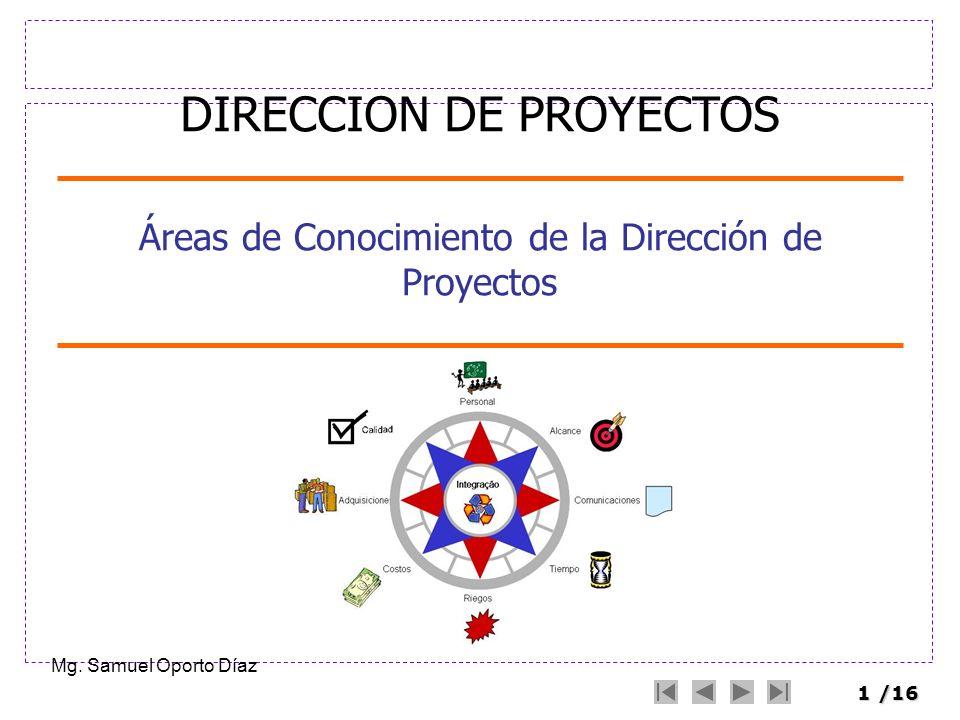 1/16 Áreas de Conocimiento de la Dirección de Proyectos Mg. Samuel Oporto Díaz DIRECCION DE PROYECTOS