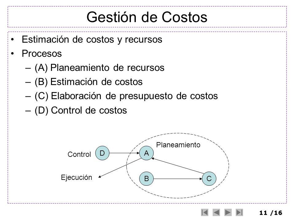 11/16 Gestión de Costos Estimación de costos y recursos Procesos –(A) Planeamiento de recursos –(B) Estimación de costos –(C) Elaboración de presupues