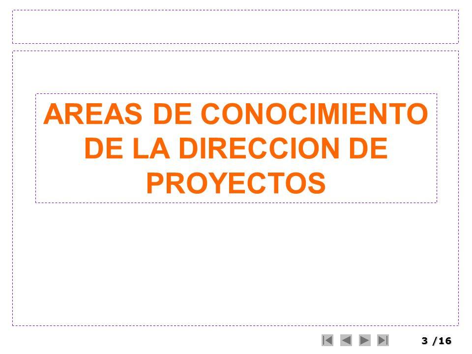 4/16 Áreas de Conocimiento Project Management Knowledge Area Las áreas de conocimiento de la dirección de proyectos se organizan en 44 procesos (PMBOK 2004) Es un área identificada de la dirección de proyectos definida por sus requisitos de conocimiento y se describe en términos de sus procesos componentes, prácticas, datos iniciales, resultados, herramientas y técnicas.