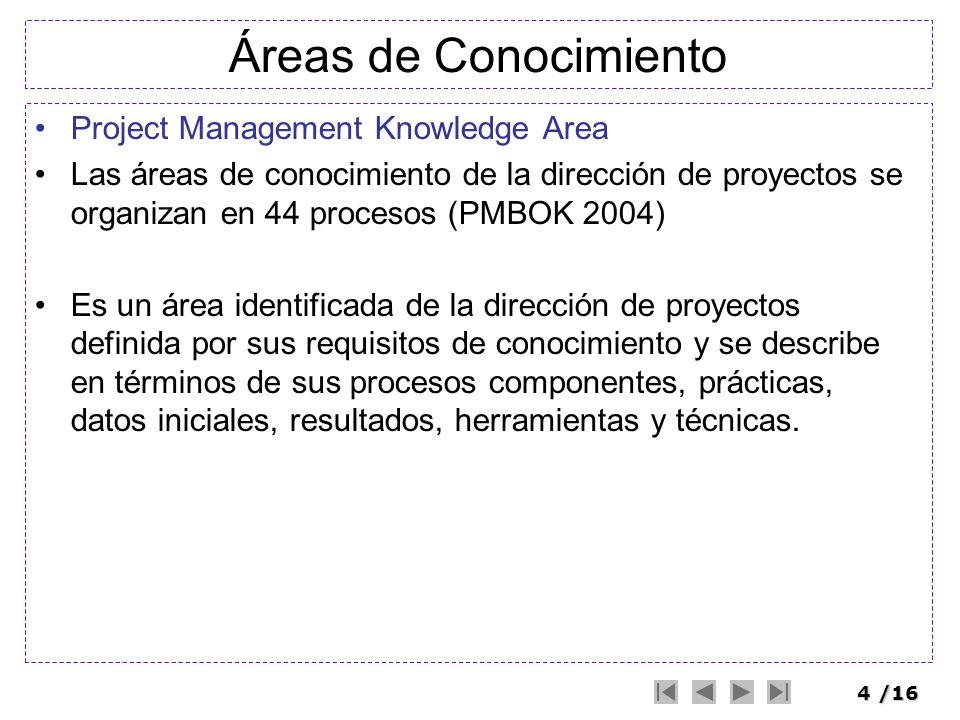 4/16 Áreas de Conocimiento Project Management Knowledge Area Las áreas de conocimiento de la dirección de proyectos se organizan en 44 procesos (PMBOK