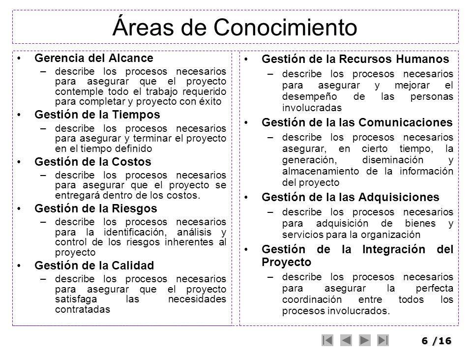 6/16 Áreas de Conocimiento Gerencia del Alcance –describe los procesos necesarios para asegurar que el proyecto contemple todo el trabajo requerido pa