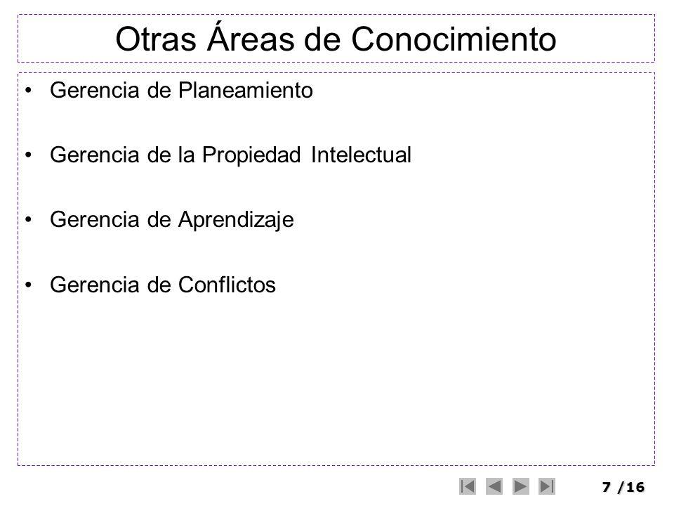 8/16 Gestión de la Integracción Coordenación del plan del proyecto Procesos –(A) Desarrollo del plan del proyecto –(B) Ejecución del plan del proyecto –(C) Control integrado de modificaciones A BC Planeamiento Ejecución Control