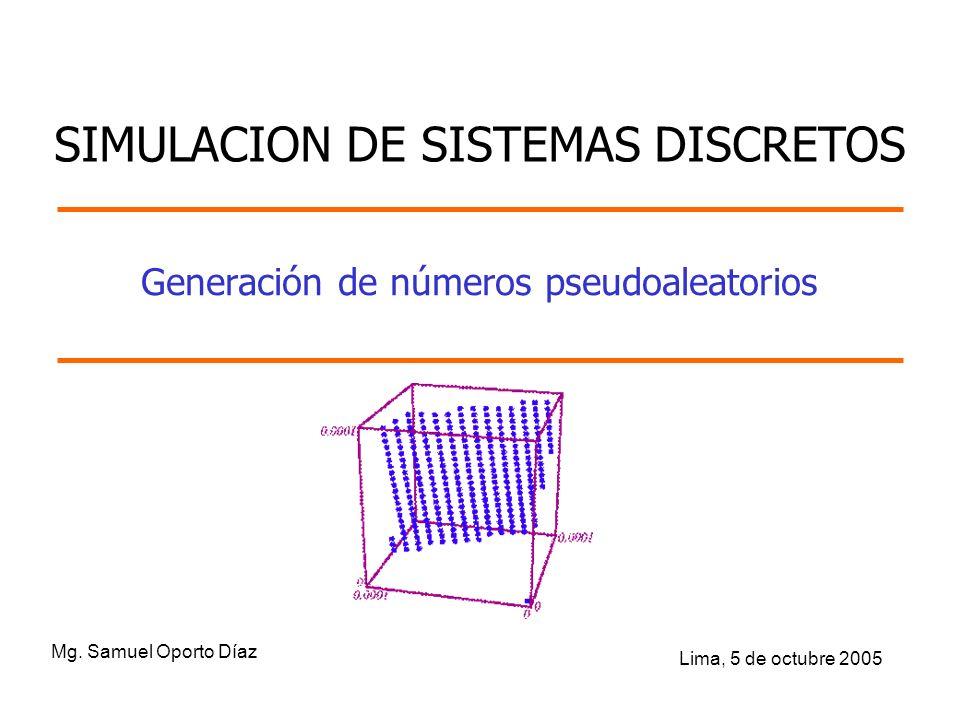 Generación de números pseudoaleatorios Mg. Samuel Oporto Díaz Lima, 5 de octubre 2005 SIMULACION DE SISTEMAS DISCRETOS
