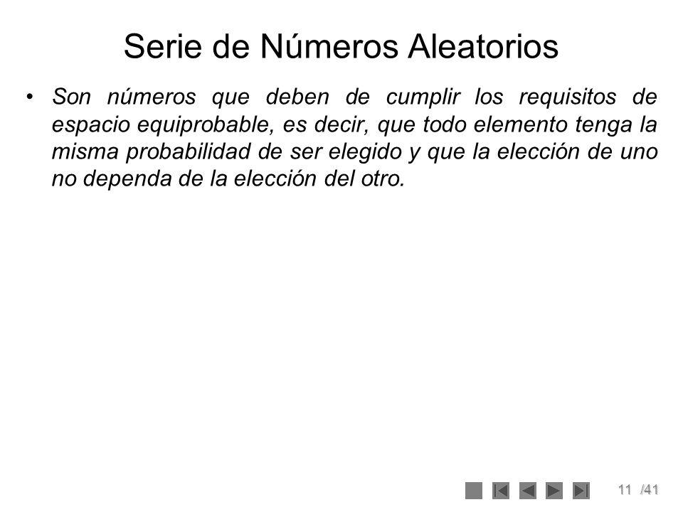11/41 Serie de Números Aleatorios Son números que deben de cumplir los requisitos de espacio equiprobable, es decir, que todo elemento tenga la misma