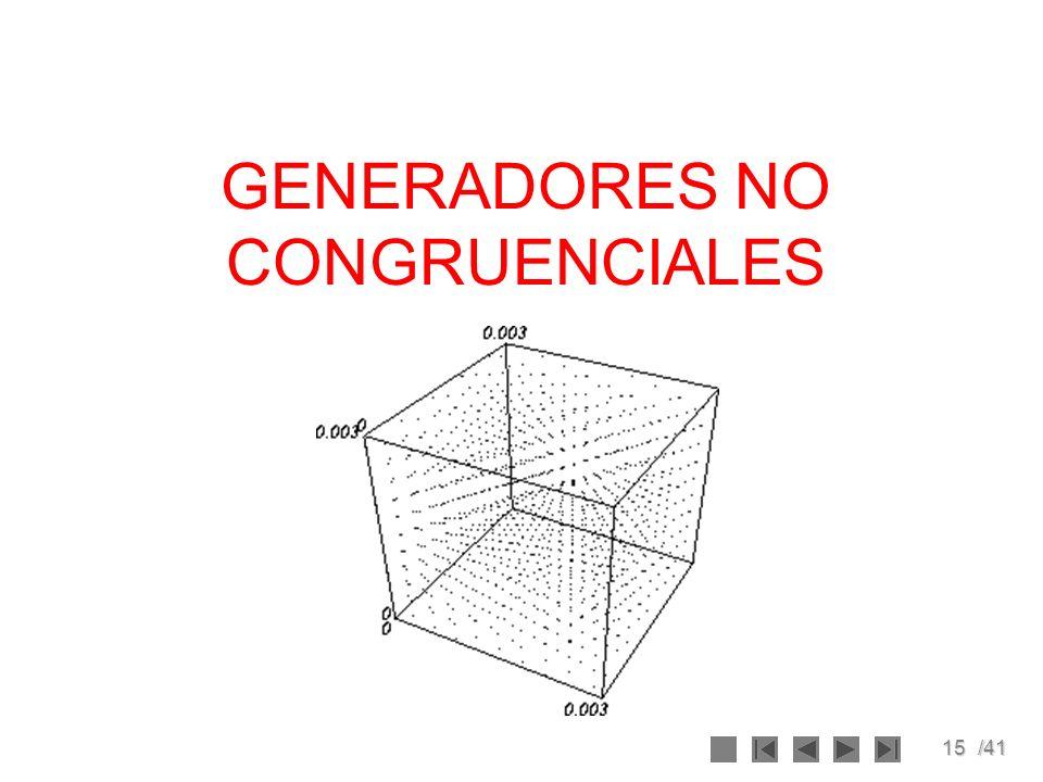15/41 GENERADORES NO CONGRUENCIALES
