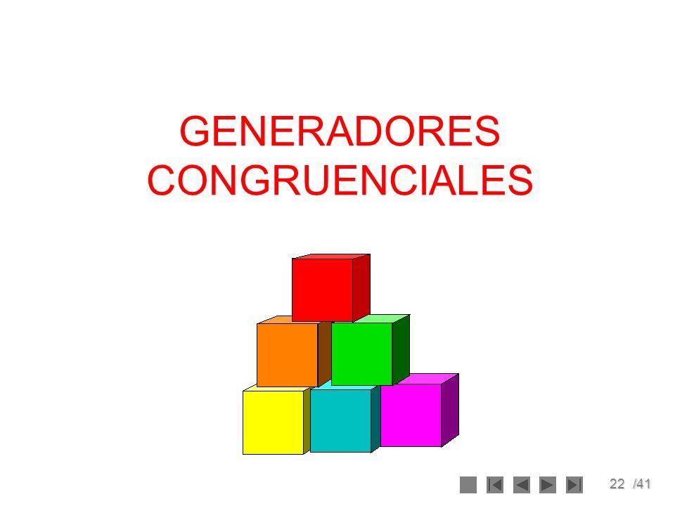 22/41 GENERADORES CONGRUENCIALES