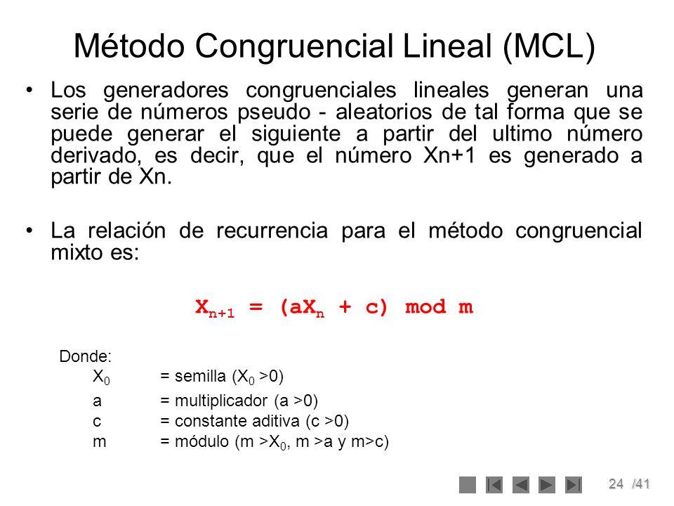 24/41 Método Congruencial Lineal (MCL) Los generadores congruenciales lineales generan una serie de números pseudo - aleatorios de tal forma que se pu