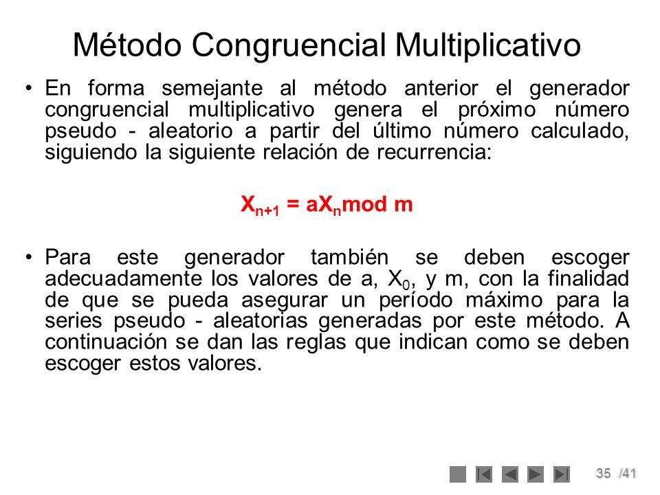 35/41 Método Congruencial Multiplicativo En forma semejante al método anterior el generador congruencial multiplicativo genera el próximo número pseud
