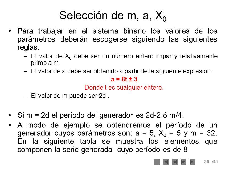 36/41 Selección de m, a, X 0 Para trabajar en el sistema binario los valores de los parámetros deberán escogerse siguiendo las siguientes reglas: –El