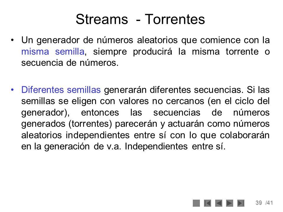 39/41 Streams - Torrentes Un generador de números aleatorios que comience con la misma semilla, siempre producirá la misma torrente o secuencia de núm