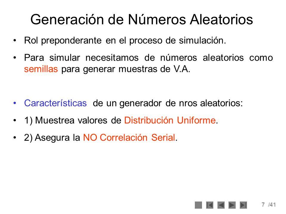 7/41 Generación de Números Aleatorios Rol preponderante en el proceso de simulación. Para simular necesitamos de números aleatorios como semillas para