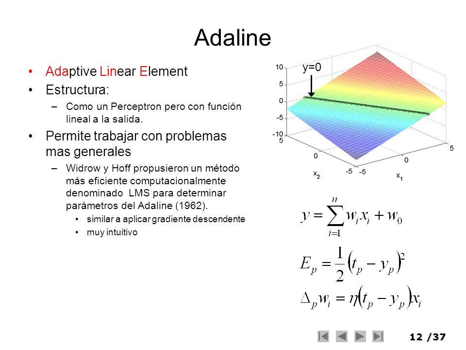 12/37 Adaline Adaptive Linear Element Estructura: –Como un Perceptron pero con función lineal a la salida. Permite trabajar con problemas mas generale