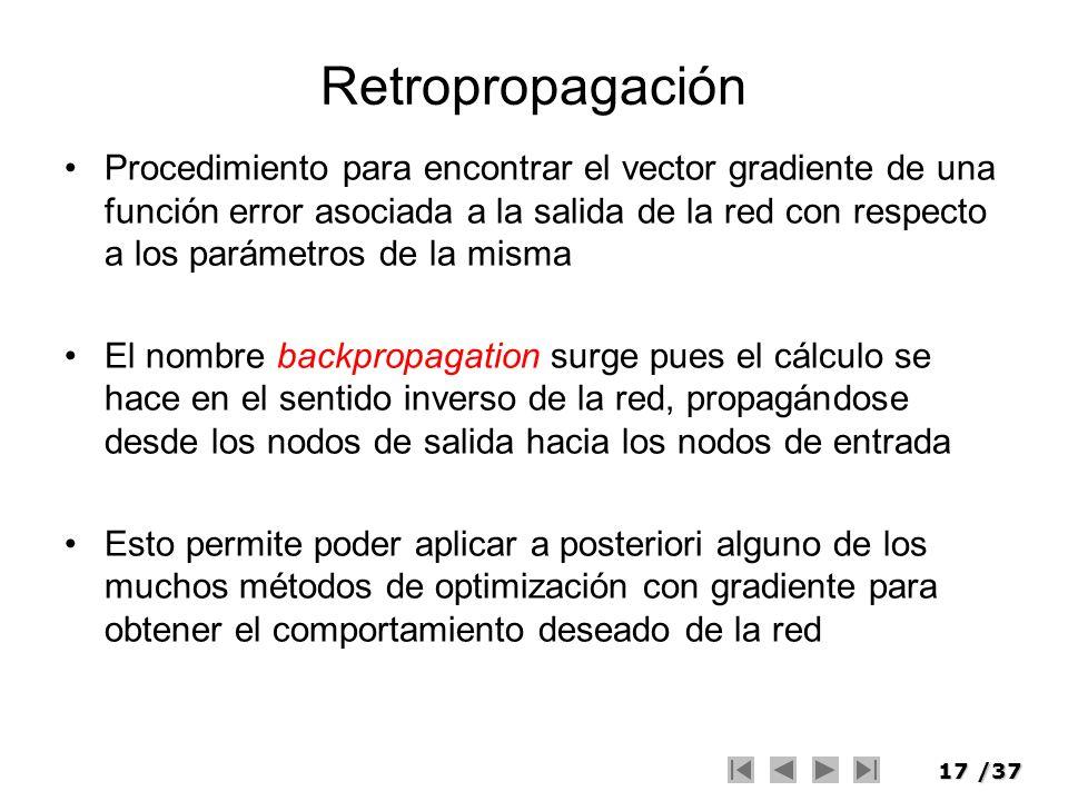 17/37 Retropropagación Procedimiento para encontrar el vector gradiente de una función error asociada a la salida de la red con respecto a los parámet