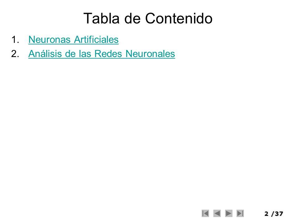 2/37 Tabla de Contenido 1.Neuronas ArtificialesNeuronas Artificiales 2.Análisis de las Redes NeuronalesAnálisis de las Redes Neuronales