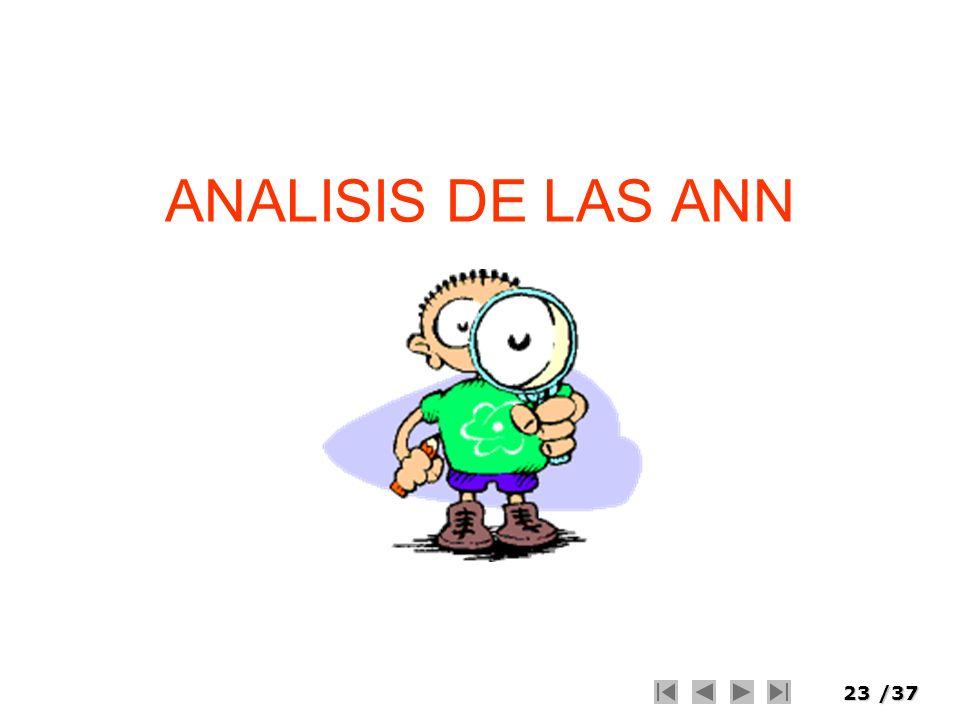 23/37 ANALISIS DE LAS ANN