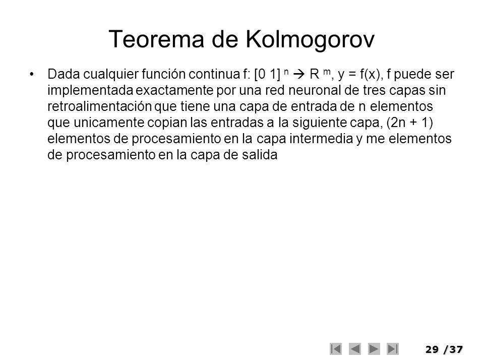 29/37 Teorema de Kolmogorov Dada cualquier función continua f: [0 1] n R m, y = f(x), f puede ser implementada exactamente por una red neuronal de tre